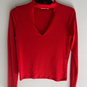 Red Cut Out V-neck Long Sleeve Knit Top
